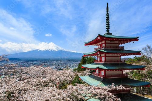 Obraz na plátně Mt Fuji, Chureito Pagoda or Red Pagoda with sakura.