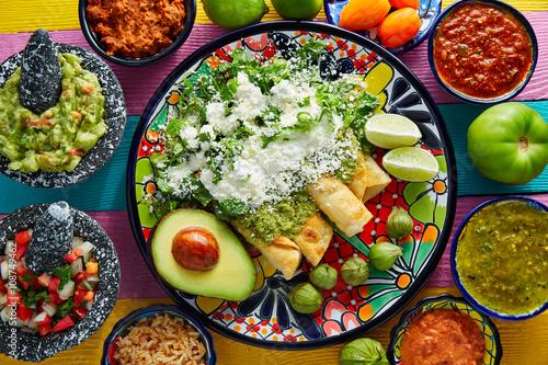 Green enchiladas Mexican food with guacamole