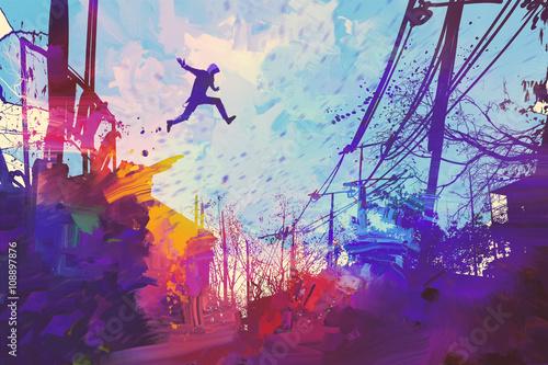 człowiek skoki na dachu w mieście z streszczenie grunge, ilustracja malarstwo