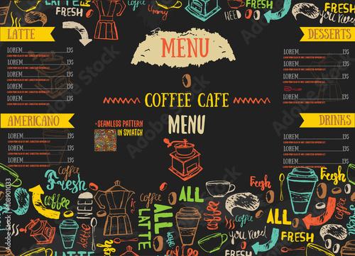 Valokuva Vecor Bistro restaurant menu design with hand drawn lettering on dark color