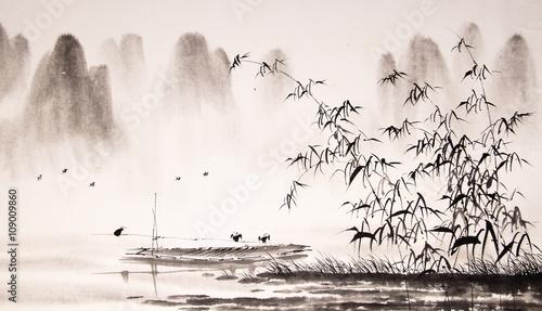Plakat Malarstwo tuszem - chiński pejzaż