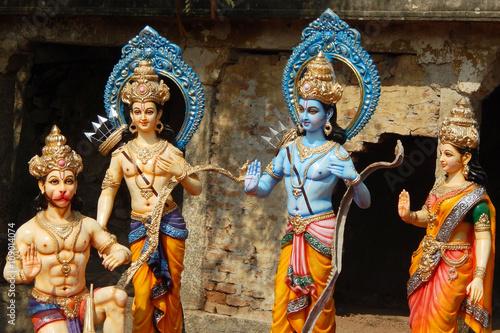 Idols of Hindu gods Rama ,laxmana, goddess sita in rath yatra on sri rama navami festival