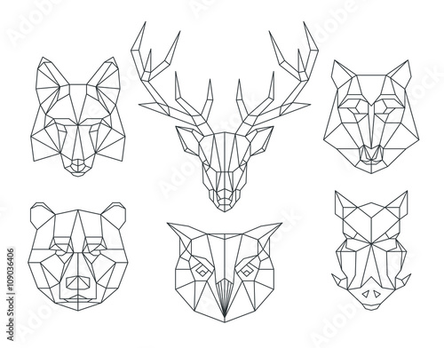 Low poly animals heads. Triangular thin line vector set