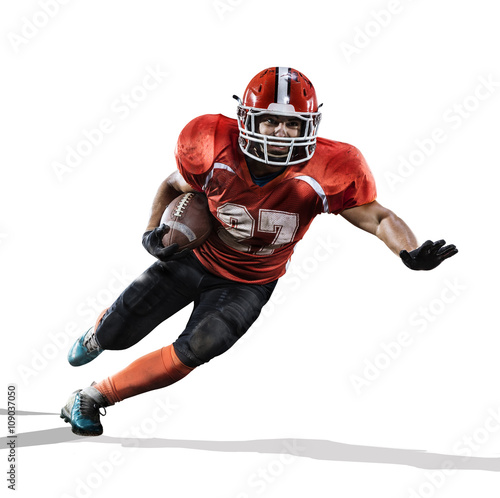 Photo American football player in action isolated on white