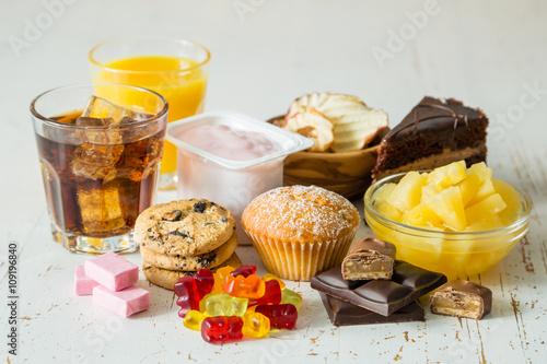 Fotografie, Obraz Selection of food high in sugar