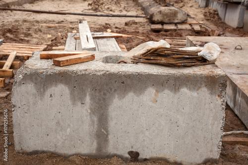 Canvas Print concrete blocks. the construction of an apartment building