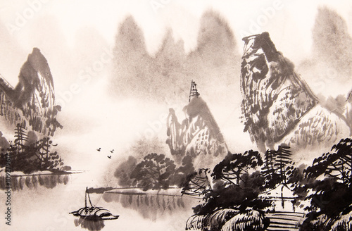 Plakat Chiński pejzaż - akwarela