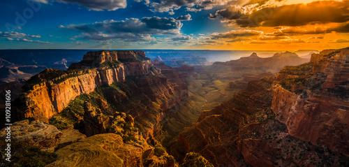 Photo Grand Canyon North Rim Cape Royal Overlook at Sunset Wotans Thro