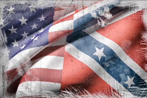 Foto usa and confederate flag