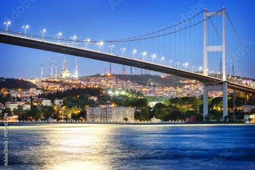 Wallpaper Mural Bosphorus Bridge at night with moon path