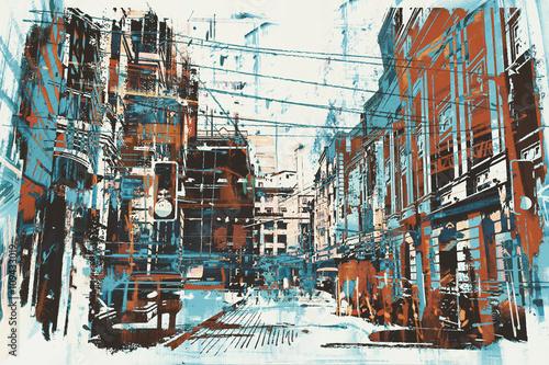 ilustracyjny obraz miastowa ulica z grunge teksturą