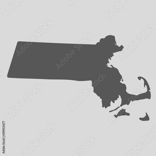 Obraz na płótnie Black map state Massachusetts - vector illustration.