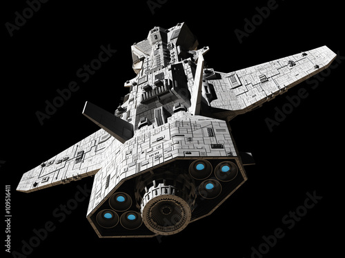 Science fiction illustration of an interplanetary gunship, isolated on black, top rear view with blue engine glow, 3d digitally rendered illustration