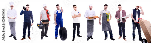 Photo handsome same young man doing various jobs in different professional outfit