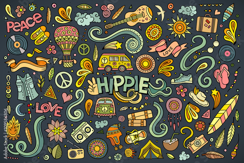 Платно Colorful set of hippie objects