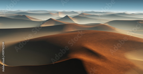 3D Fantasy krajobraz pustyni z wielkich wydm