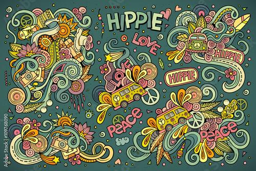 Fototapeta Colorful set of hippie objects