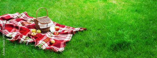 Stampa su Tela Checkered Plaid Picnic Basket Green Grass Summer