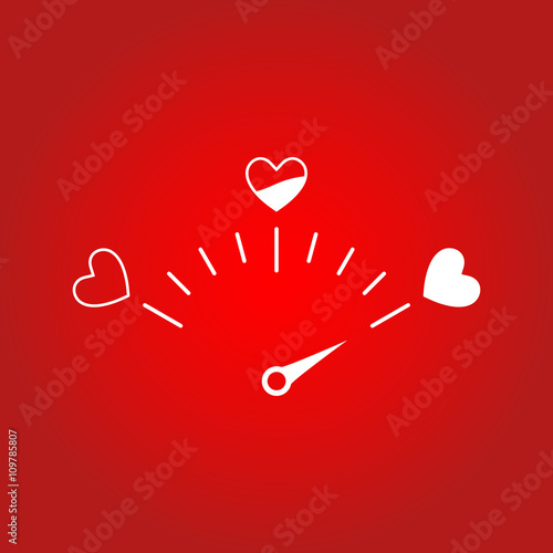 Love meter in speedometer design.Vector illustration with heart symbols and pointer.