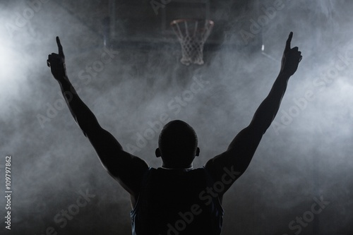 Canvas Print Rear view of a basketball player with his arms in the air