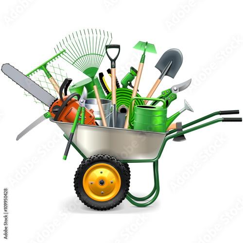 Vector Wheelbarrow with Garden Accessories Fototapet
