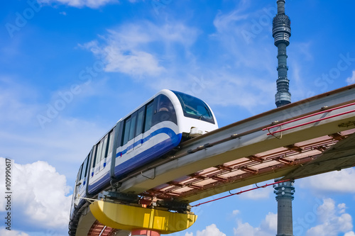 TV tower Ostankino and monorail train, Moscow, Russia