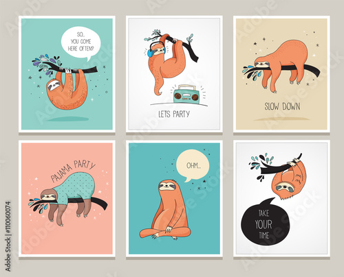 Photo Cute hand drawn sloths illustrations, funny cards