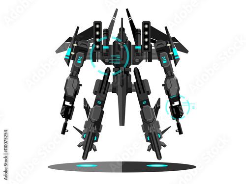 Canvas Print Military robot transformer