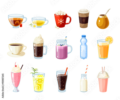 Photo Set of cartoon food: non-alcoholic beverages - tea, herbal tea, hot chocolate, latte, mate, coffee, root beer, smoothie, juice, milk shake, lemonade and so