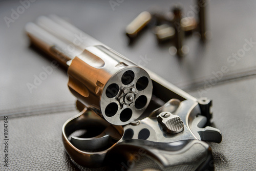 Obraz na plátně .357 Caliber Revolver Pistol, Revolver open ready to put bullets
