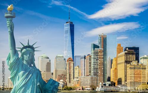 Nowy Jork, turystyka koncepcja fotografia Statua Wolności, panoramę Manhattanu