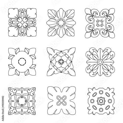 Fotografia Set of square rosette elements