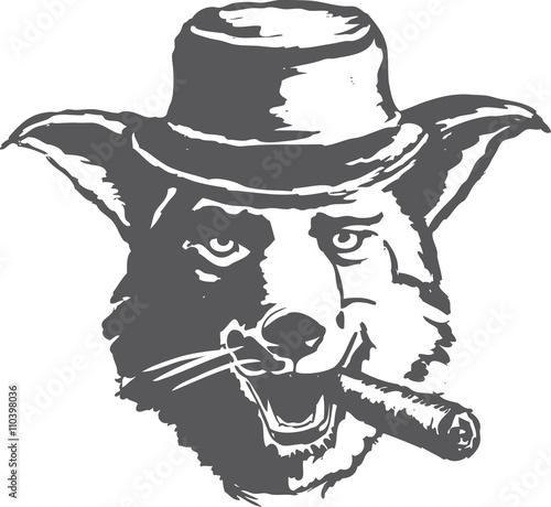 Obraz na płótnie Sly dog smoking a cigar