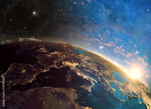 Fotografia Detailed colorful Earth, highly detailed planet earth in the morning