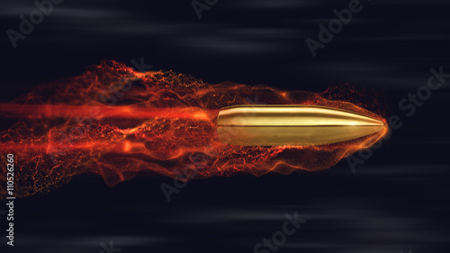 Fotografie, Obraz Flying bullet with trails. 3d render