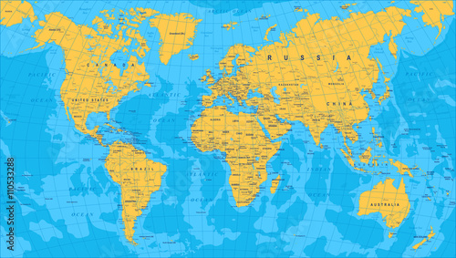 Yellow Blue World Map - borders, countries and cities - illustration   Highly detailed colored vector illustration of world map.