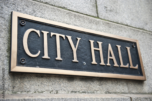 City Hall Name Board Tapéta, Fotótapéta