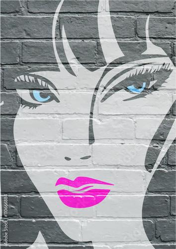 Lerretsbilde Art urbain, portrait d'une jeune femme