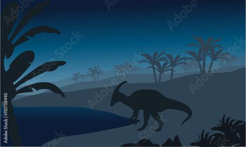 фотография Silhouette of single parasaurolophus