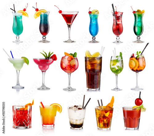 Photographie Set of classic alcohol cocktails isolated