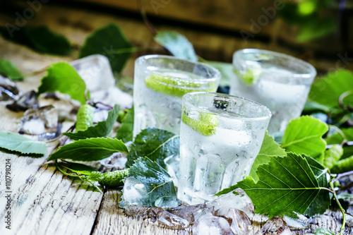 Fotografie, Obraz Cold Russian vodka, on birch buds, crushed ice birch leaves, vin