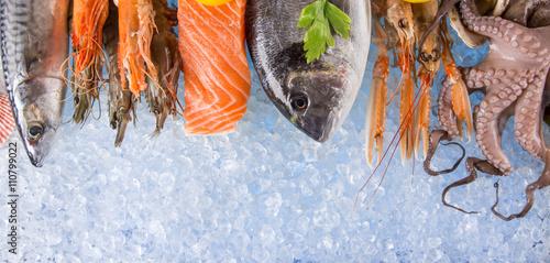 Fresh seafood on crushed ice.
