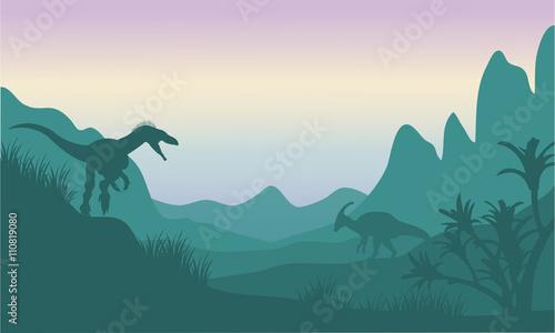 фотография Silhouette of eoraptor and parasaurolophus