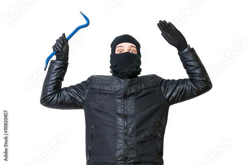 Wallpaper Mural Burglar or thief is putting hands up