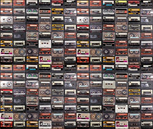 Fotografie, Obraz Huge collection of audio cassettes. Retro musical background