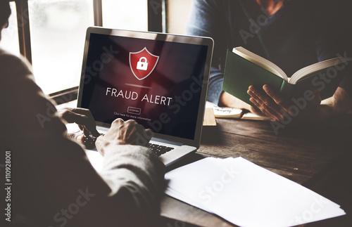 Fraud Alert Caution Defend Guard Notify Protect Concept Fotobehang