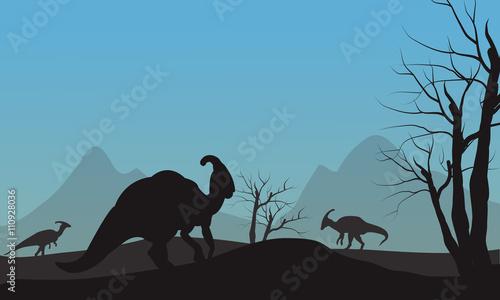 фотография Silhouette of parasaurolophus in hills