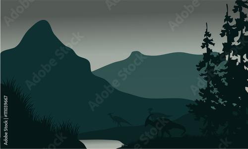 фотография Silhouette of parasaurolophus in river