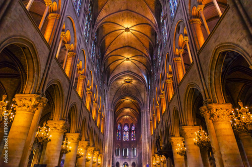 Photo Interior Arches Stained Glass Notre Dame Cathedral Paris France