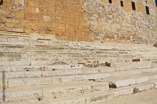 Photo Southern Steps below the Al-Aqsa mosque, located on the south side of the temple mount in Jerusalem, Israel